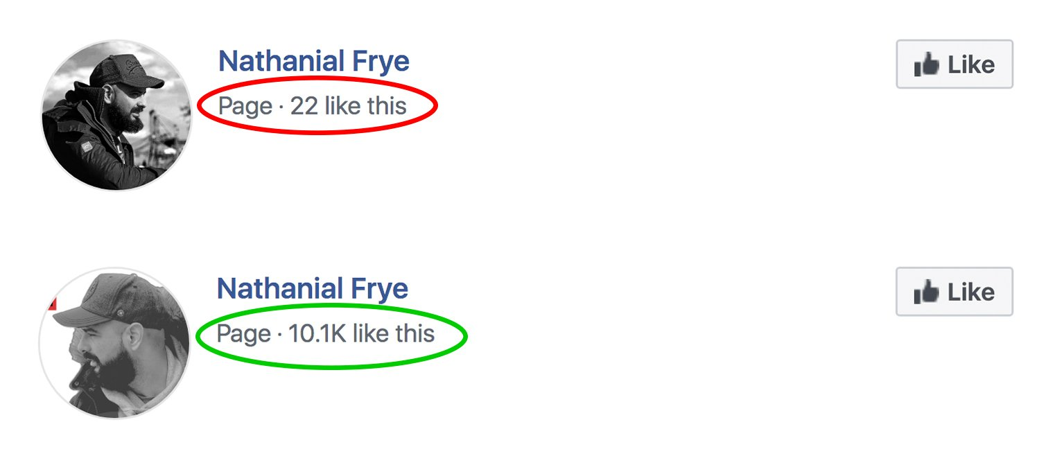 Facebook Page likes 1-1